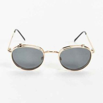 Rose Gold Flip Round Sunglasses