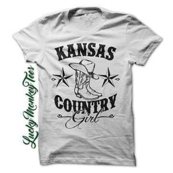 Kansas Country Girl Shirt Redneck Line Dancing Cowboy Boots Womens Ladies Girls T-Shirt Tee Shirt