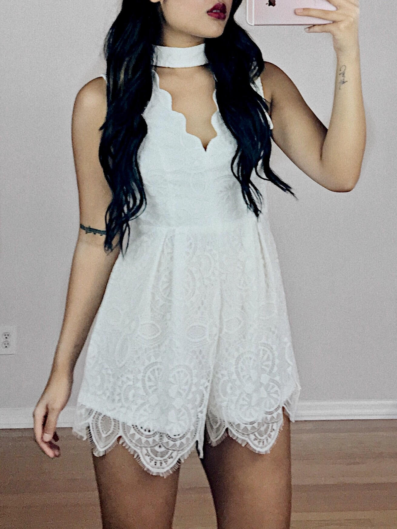 899426aff10 Campbell Mock Neck Lace Romper from Shop Devi
