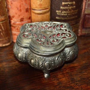 Antique French Petite Ornate Silver Finish Footed Jewelry Box Rings Trinkets