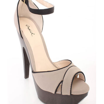 Taupe Ankle Buckle Strap Platform Heels Smooth Faux Leather