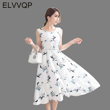 2018 New Women summer Print dress Leisure retro Floral printing dress Tank sleeveless O neck elegant long dress vestidos LF129
