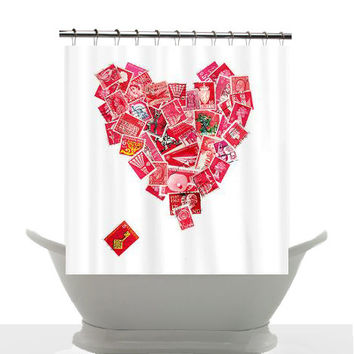 Artistic Shower Curtain - Key to my Heart - Philately - postage stamp love, valentine, red and white heart, decor, bathroom
