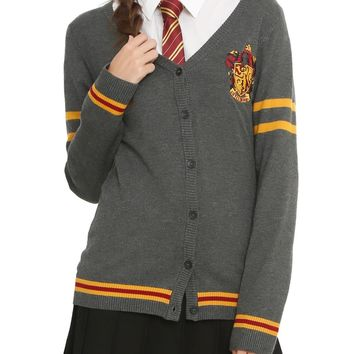 Licensed cool Harry Potter Gryffindor Cardigan Sweater House Crest button down JRS M & L NWT