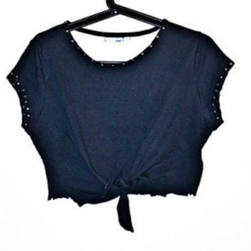 Crop Top Knot Shirt With Studs