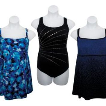 Wome's Plus Size One-Piece Swimsuits & Swimdresses - Sizes 16-24 - CASE OF 24