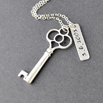 Key necklace, keepsake necklace, special date necklace, anniversary, wedding date, engagement, hand stamping, custom necklace