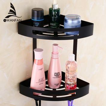 Stainless steel 304 Black Gold bathroom corner shelf shower room rack for body wash bottle toilet corner table holder 9287