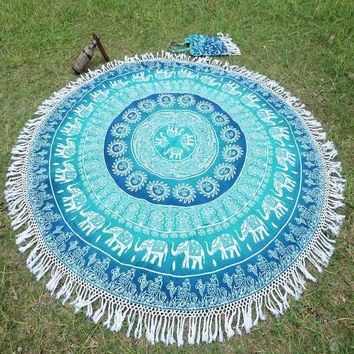 Bohemian Indian Mandala Tapestry or Wall Hanging. Yoga Beach Blanket.