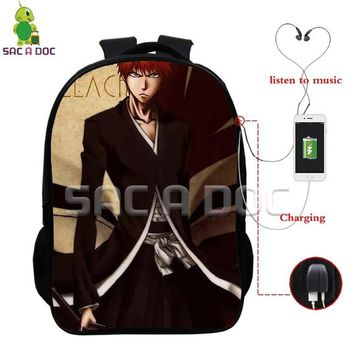 Anime Backpack School kawaii cute Bleach Multifunction Backpack Kurosaki Ichigo School Bags for Teens Men Women USB Charging Headphone Jack Laptop Backpack AT_60_4