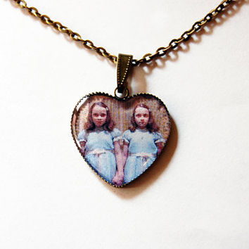 """The Grady Daughters (""""The Shining Twins"""" or """"The Grady Twins"""") From Stanley Kubrick """"The Shining"""" - Handmade Vintage Cameo Pendant Necklace"""