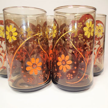 Mod Flower Water 10 oz Glasses Mid Century 1960s Abstract Applied Enamel  set of 8