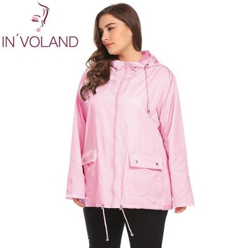 Trendy IN'VOLAND Plus Size XL-5XL Women Rain Jacket Coat Hooded Casual Large Raincoat Drawstring Hem Solid Waterproof Jacket Big Size AT_94_13