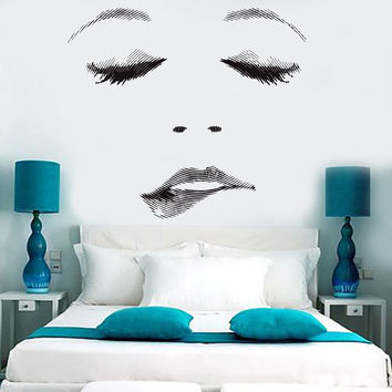 Vinyl Wall Decal Sexy Beauty Salon Woman Face Eyelashes Lips Stickers Unique Gift (ig4709)
