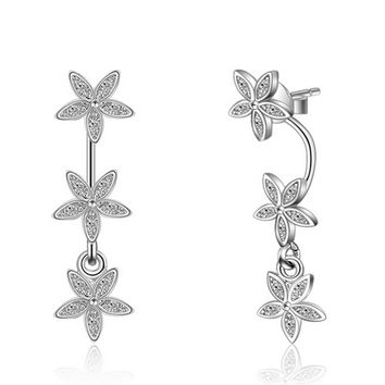 Womens 925 Silver Floral Stud Earrings With Cut Crystal +Gift Box