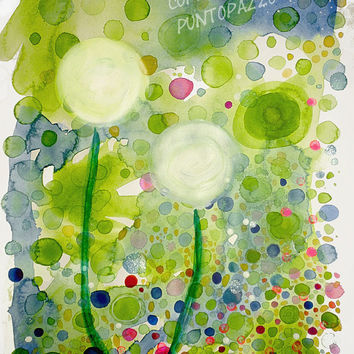 Abstract watercolor dandelion, original artwork on acid free paper, 11.6 x 16.5 inches, circles, bubbles