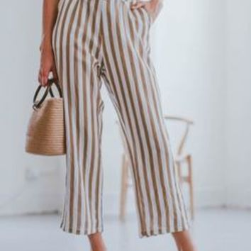 'Joy' Striped High Waisted Belted Linen Pants