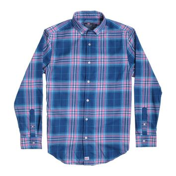 Custom Point Lobos Plaid Performance Flannel Classic Murray Shirt in Bahama Breeze by Vineyard Vines