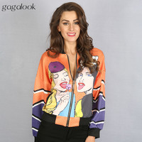 Gagalook 2016 Autumn Bomber Jacket Women Long Sleeve Basic Jacket Coats Brand Candy Girl Printed Souvenir Jacket HC0050