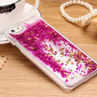 Glitter Stars Quicksand Iphone Case Clear Cover For iPhone 4 4S Iphone 5 5S Iphone 6 PLUS Flowing Color Glitter
