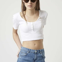 Ribbed Popper Front Cropped Tee - Topshop