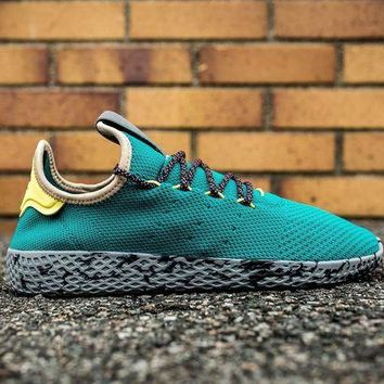 ONETOW ADIDAS X APHARRELL WILLIAMS PW TENNIS HU SPORT SHOES RUNNING SHOES - TEAL/YELLOW CQ18