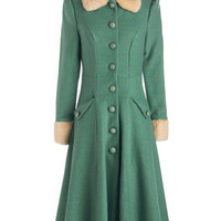 ModCloth Vintage Inspired Long Long Sleeve Mountain Majesty Coat in Sea Glass