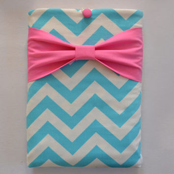 "Macbook Pro 15 Sleeve MAC Macbook 15"" inch Laptop Computer Case Cover Girly Blue & White Chevron with Candy Pink Bow"