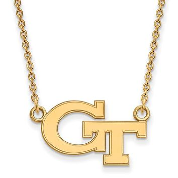 NCAA 10k Yellow Gold Georgia Technology Small 'GT' Pendant Necklace