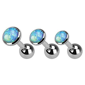 BodyJ4You Tragus Earrings Stud Aqua Blue Opal Stone 16G Cartilage Piercing Jewelry Set 3 Pieces