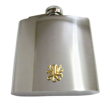 Gold Toned Octopus 6 Oz. Stainless Steel Flask