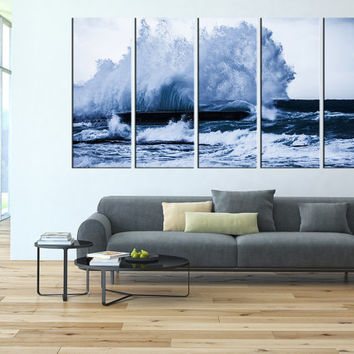 Ocean wave canvas art print, sea wall art, wall decor waves canvas, extra large wall art, lanscape canvas print, seaside canvas printing t91