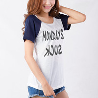 Mondays Shirt TShirts for Women Teens Girls Cool Funny Slogan Quote Grunge Punk Emo Gifts Present Birthday Christmas New Year Bestfriend