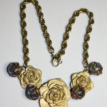 Vintage Retro Rose Wedding Cake Bead Necklace by patwatty on Etsy