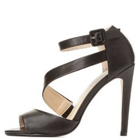 Black Curved Strappy Peep Toe Heels by Charlotte Russe