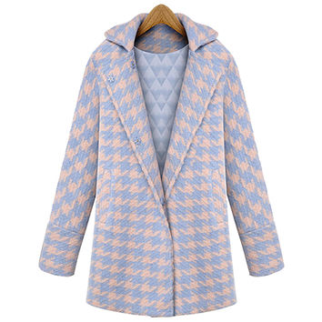 Blue & Pink Houndstooth Long-Sleeve Coat