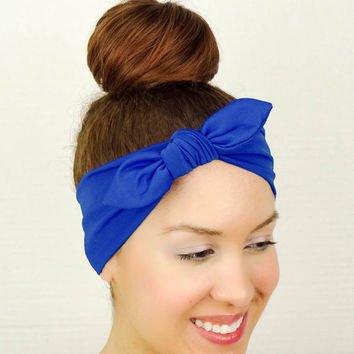 Turban Bow Royal Blue Yoga Headband Head Wrap Bow Fitness Headband Knit Turban Blue Workout Headband Blue Running Headband Blue Cheer Bow
