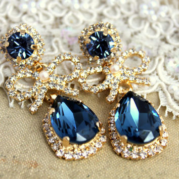 Chandelier Crystal teardrop blue denim  pearls and bow's bridal jewelry - 14 k plated gold earrings real Swarovski..