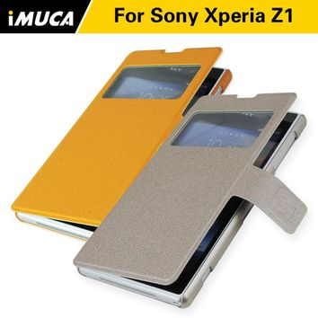 Luxury Texture Leather Standing Phone  Cover Case For Sony Xperia Z1 Magnetic Flip case For Sony Xperia L39H C6902 C6903 C6906