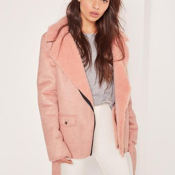 Missguided - Faux Suede Shearling Lined Biker Jacket Pink