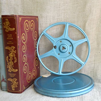 Vintage Metal Film Reel and Canister Set // 8 mm Film reel and case //   Old  Movie Film reel //Industrial Blue Movie Film Reel & Case