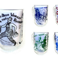 Hazel Atlas Melody Series Beer Mugs, Root Beer, Collectible Song Glasses, 1950s