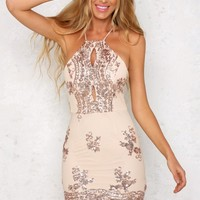 Women Gold Sequin Embroidery Bodycon Bandage Dress Ladies Elegant Party Dress