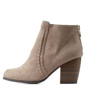 Taupe Qupid Whip-Stitched Chunky Heel Booties