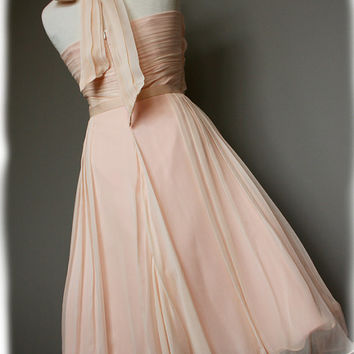 Halter Style Vintage Style Silk Chiffon Dress with ribbon belt, Custom Made in your size