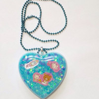 Kawaii Pastel Blue Bear in Space Necklace!