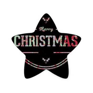Merry Christmas Greeting Star Sticker