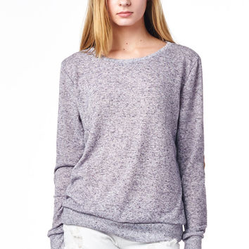 Eggplant Hacci Sweatshirt With Brown Suede Elbow Patches