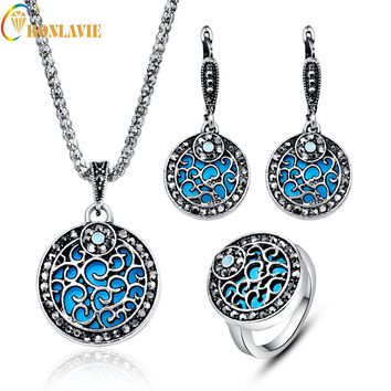 Fashion Vintage Jewelry Set For Women Silver Color Dubai Blue Round Wedding Jewelry Sets Engagement Party Gift of love ly12