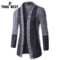 Spring Autumn Cardigan Men Patchwork Slim Pull Home Fashion Long-sleeved Men Sweater